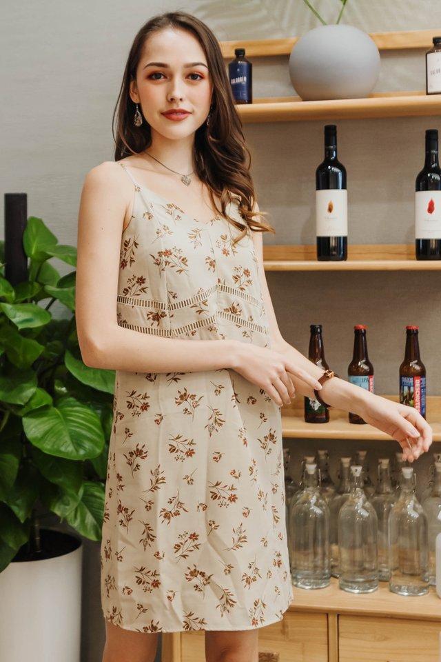 ACW Floral Lattice Trim Slip Dress in Ivory