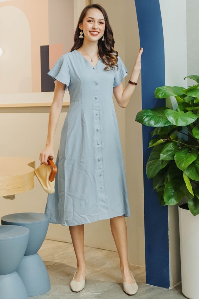ACW Button Panel Flutter Sleeve Midi Dress in Sky