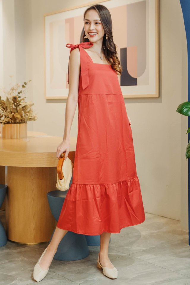 Tie Strap Drop Hem Maxi Dress in Vermillion