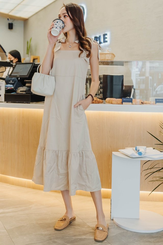 *Backorder* Tie Strap Drop Hem Maxi Dress in Ecru