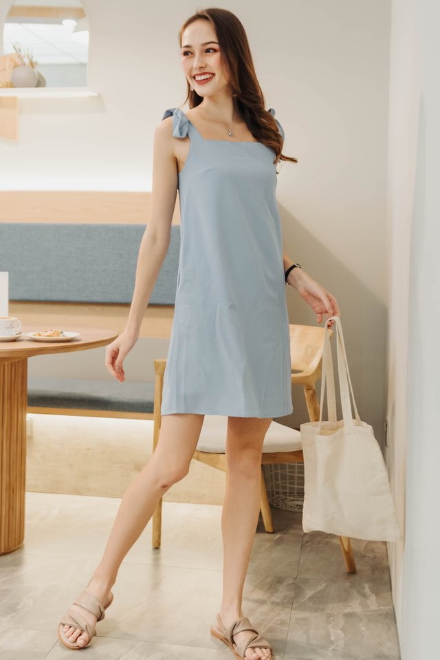 ACW Tie Strap Shift Dress in Powder Blue