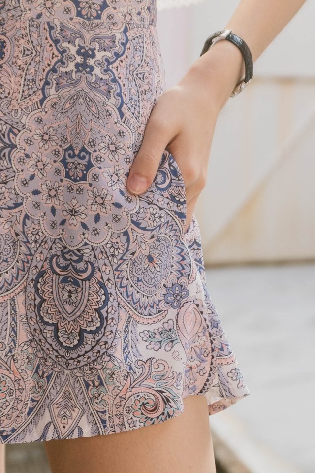 *Backorder* ACW Paisley Pocket Flare Shorts in Lilac