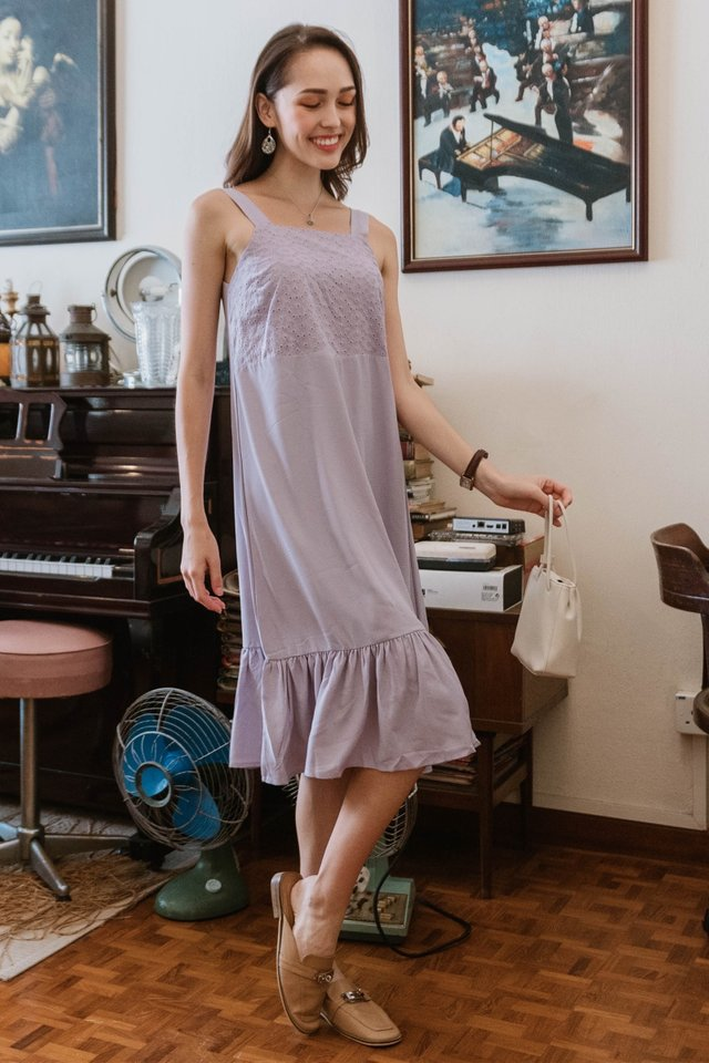 ACW Eyelet Panel Drop Hem Midi Dress in Lavender
