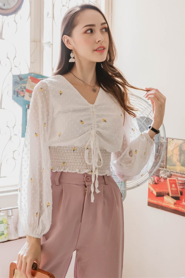 ACW Ruch Drawstring Bell Sleeve Top in Swiss Dot