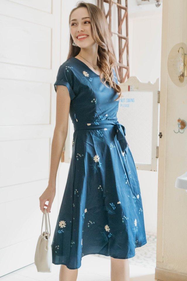 ACW Botanica Floral Sash Midi Swing Dress in Navy
