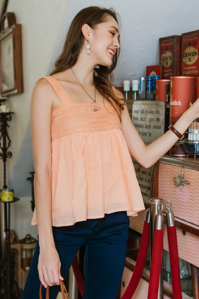 ACW Crotchet Panel Flounce Top in Coral