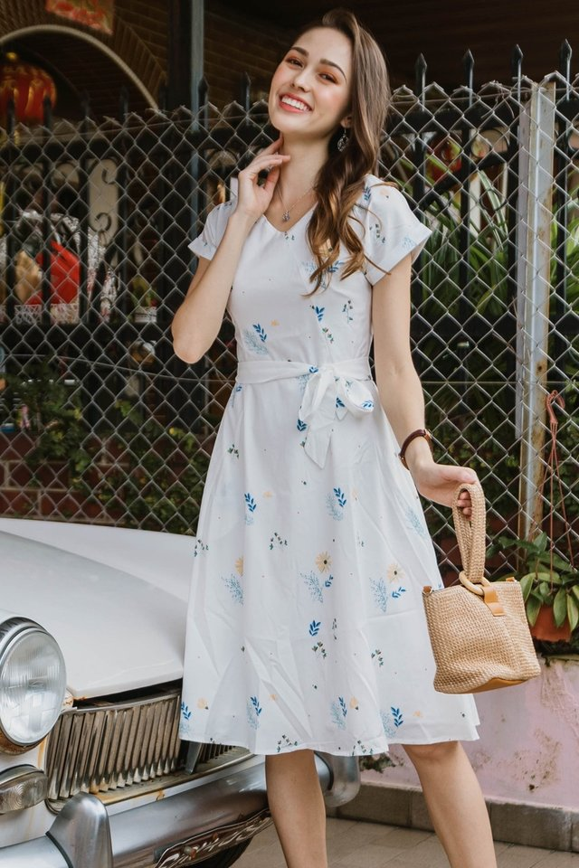 ACW Botanica Floral Sash Midi Swing Dress in White
