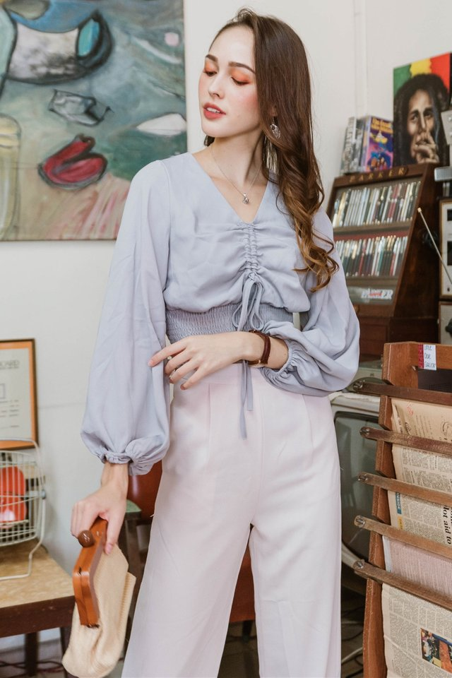 ACW Ruch Drawstring Bell Sleeve Top in Dusty Grey