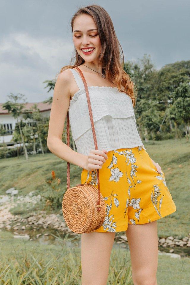 ACW Pocket Flare Shorts in Daffodil Drawn Florals
