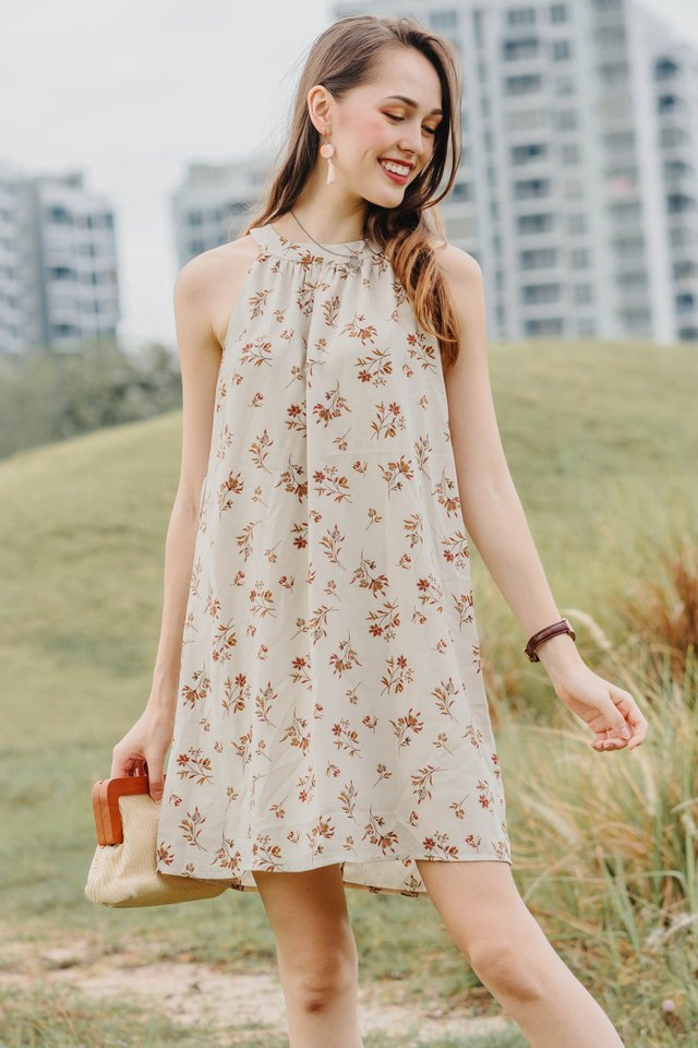 ACW High Neck Sash Swing Dress in Rustic Florals