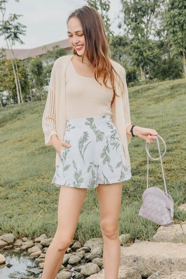 ACW Pocket Flare Shorts in White Drawn Florals