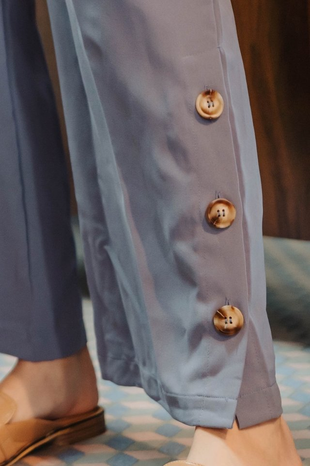 ACW Button Panel Flare Trousers in Periwinkle
