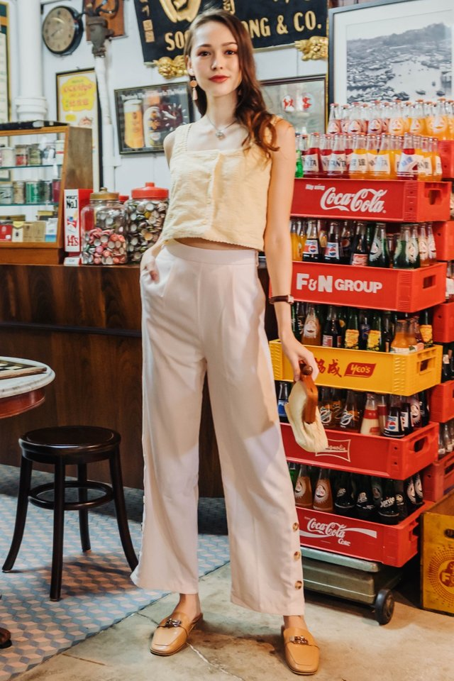 ACW Button Panel Flare Trousers in Ivory