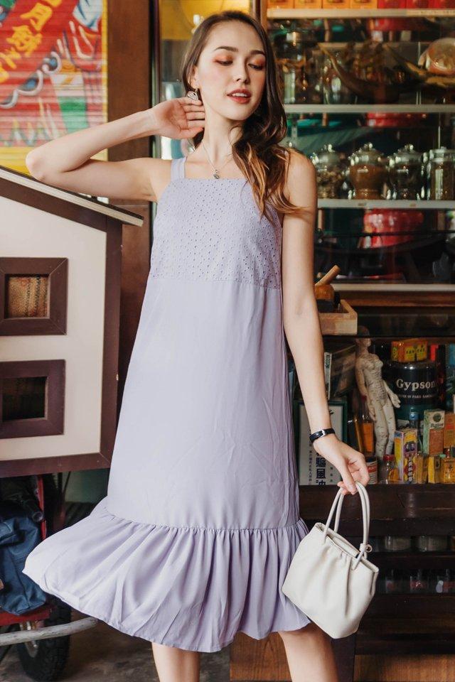 ACW Eyelet Panel Drop Hem Midi Dress in Lavender