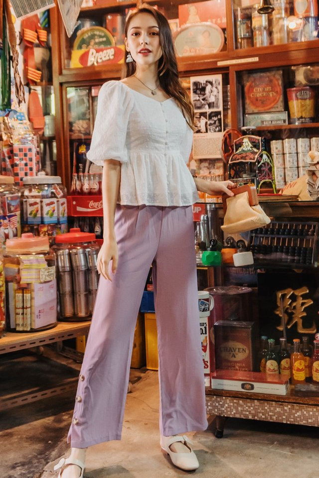 ACW Button Panel Flare Trousers in Lavender
