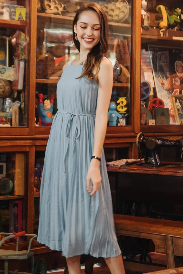 ACW Pleated Sash Midi Dress in Turquoise