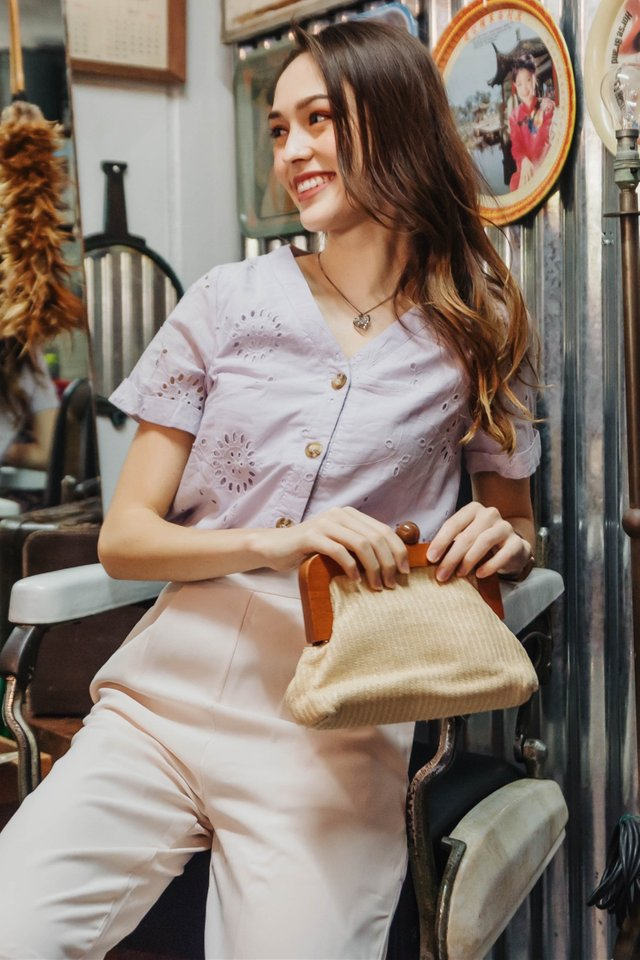 ACW Eyelet Button Down Sleeve Top In Lilac