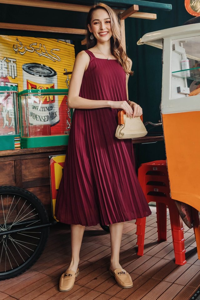 ACW Pleated Sash Midi Dress in Wine