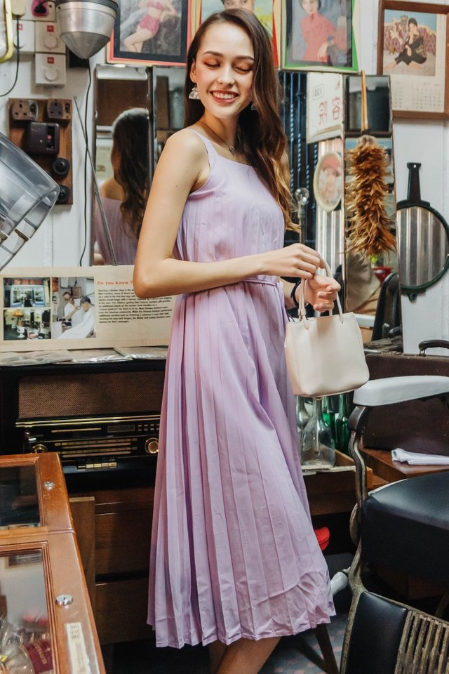 ACW Pleated Sash Midi Dress in Lavender